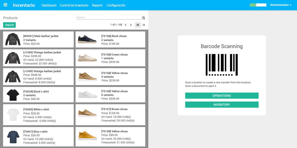 App de Inventario - Listas de productos e interfaz de escaneo de códigos de barras